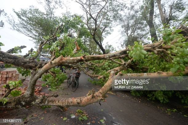 A resident pushes his bike under braches of a fallen tree along a road following the landfall of cyclone Amphan in Satkhira on May 21 2020 At least...