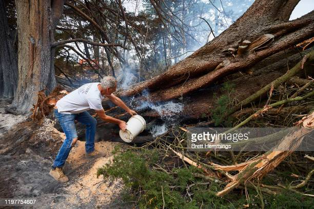 A resident throws a bucket of water onto a smoldering tree on his property on January 06 2020 in Wingello Australia Cooler conditions and light rain...