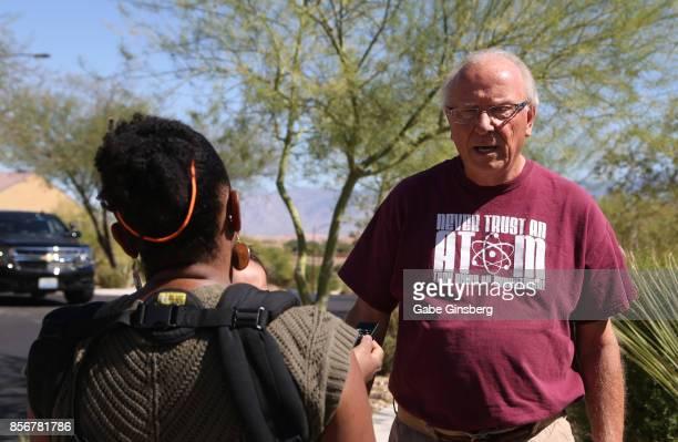 Resident Tom Jennings speaks with a reporter outside of the Sun City Mesquite community where suspected Las Vegas gunman Stephen Paddock lived...