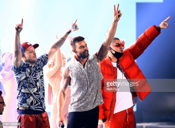 Residente Ricky Martin and Bad Bunny perform onstage during the 20th annual Latin GRAMMY Awards at MGM Grand Garden Arena on November 14 2019 in Las...
