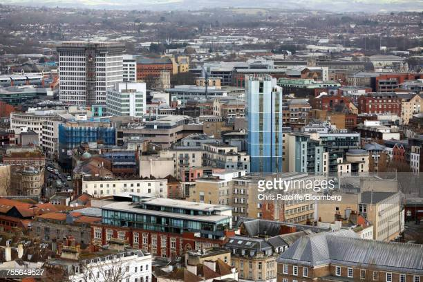 Residential and commercial buildings stand in central Bristol, U.K.