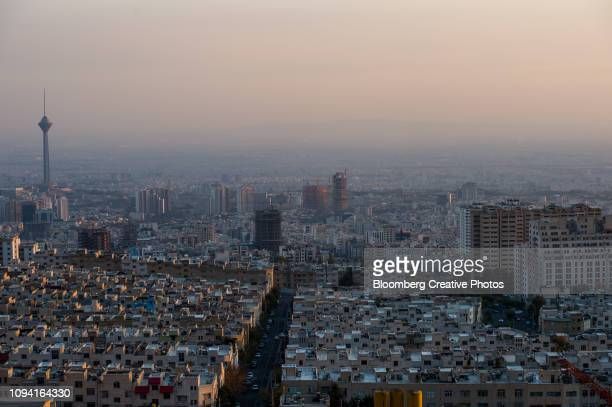 residential and commercial buildings stand in tehran, iran - tehran stock pictures, royalty-free photos & images