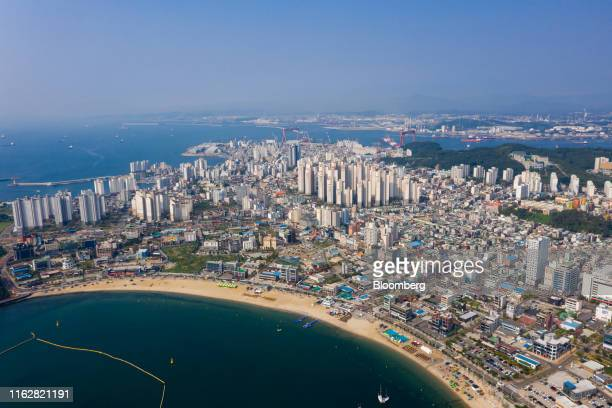 Residential and commercial buildings stand in this aerial photograph taken above Ulsan, South Korea, on Monday, Aug. 5, 2019. Ulsan is known as...