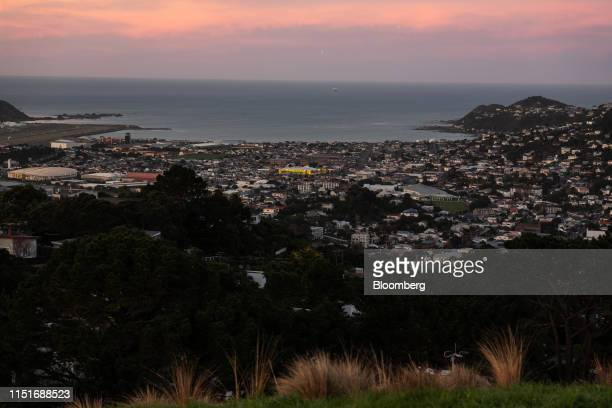 Residential and commercial buildings standing on the city skyline are seen from Mount Victoria Lookout at dawn in Wellington New Zealand on Saturday...