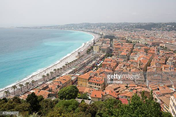 Residential and commercial properties stand beside the beach front and the Mediterranean Sea in Nice France on Thursday May 14 2015 The European...