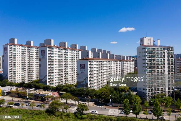 Residential apartment buildings stand in Jeonju, South Korea, on Friday, Sept. 13, 2019. Relations between Tokyo and Seoul have plumbed new depths...