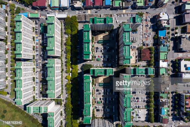 Residential apartment buildings stand in this aerial photograph taken above Jeonju, South Korea, on Friday, Sept. 13, 2019. Relations between Tokyo...