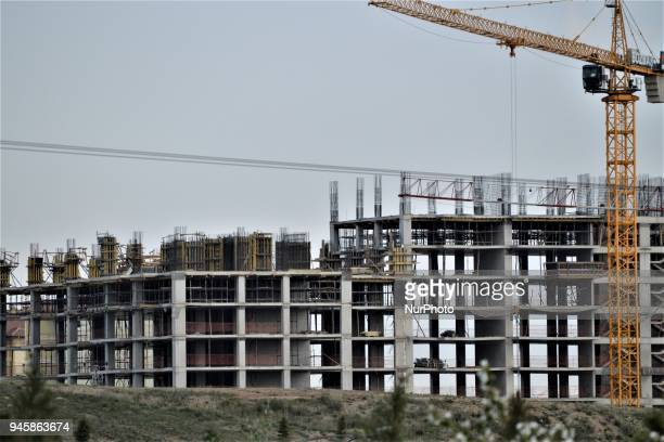 A residential apartment is seen at its construction site in Ankara on April 13 2018 Despite one of the most profitable businesses in Turkey...