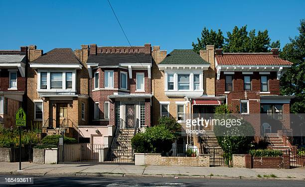residential architecture in astoria queens new york city family homes - queens new york city stock pictures, royalty-free photos & images