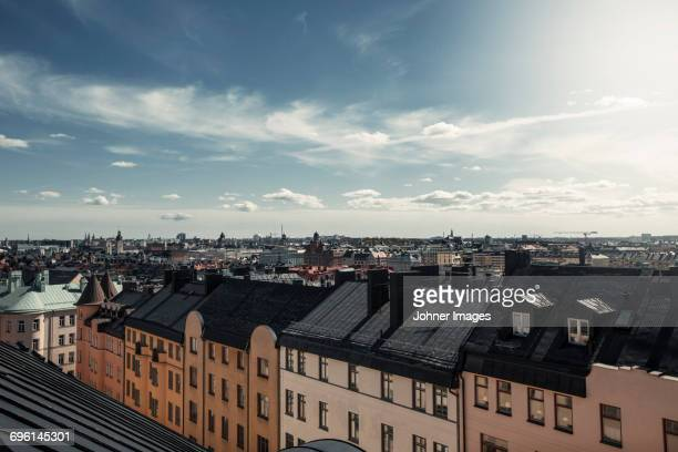 residential area against sky - stockholm stock pictures, royalty-free photos & images