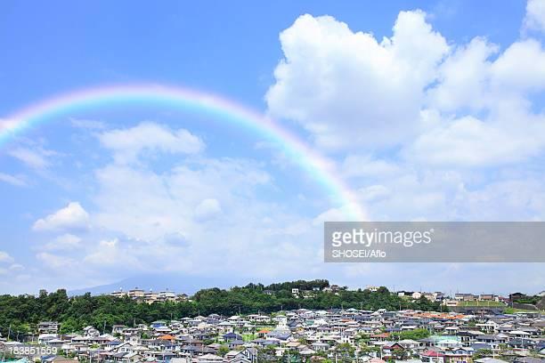 Residential area and rainbow, Shizuoka Prefecture