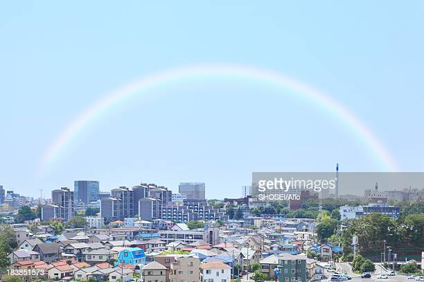 Residential area and rainbow, Shizuoka Prefecture