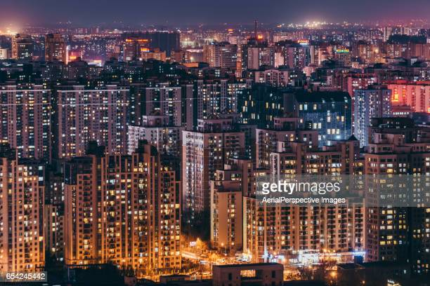 residential area at night, beijing, china - stadtviertel stock-fotos und bilder