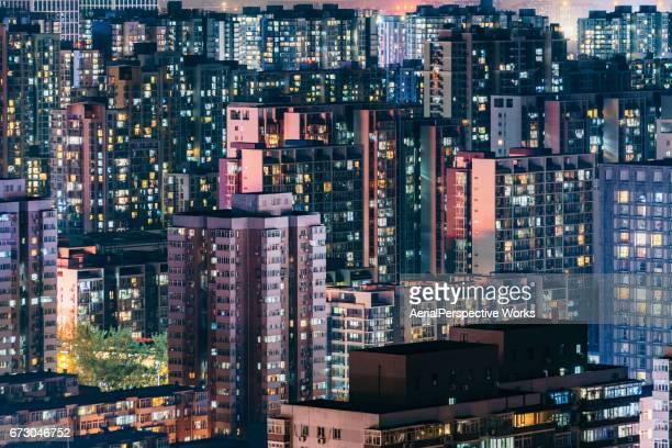 Wohngebiet in der Nacht, Peking, China