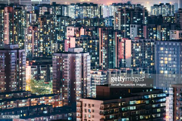 Residential Area Cityscape and Residential Neighborhood at Night