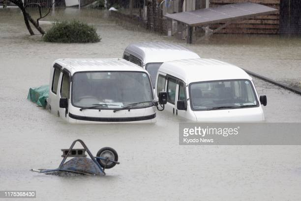 Residential area is flooded in Ise, Mie Prefecture, central Japan, on Oct. 12 ahead of the arrival of Typhoon Hagibis.