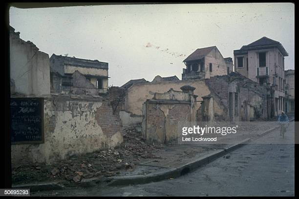 Residential area of Hanoi showing destroyed houses resulting from bombing raids