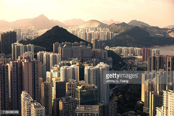 residential area of hong kong - hong kong stock pictures, royalty-free photos & images