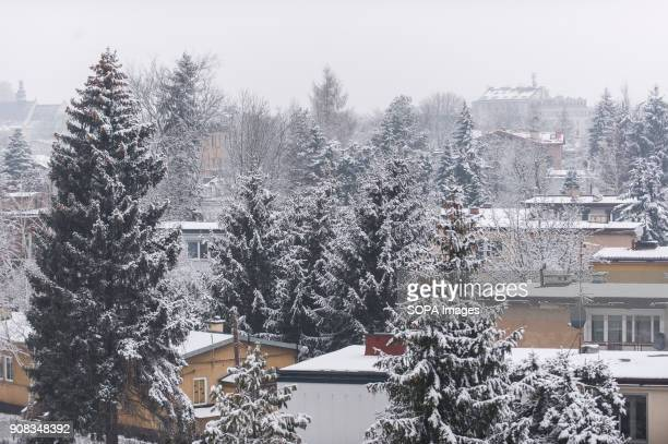 Residential areas cover in snow in Krakow