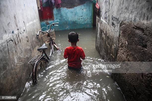 Residential areas flooded after heavy rain overnight in Indonesia Capital of Jakarta on February 26 2016 Seasonal rains and high tides in recent days...
