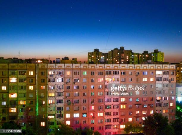 residential blocks in chisinau, capital of moldova - chisinau stock pictures, royalty-free photos & images