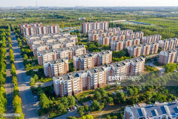 residential building aerial view - liyao xie stock pictures, royalty-free photos & images