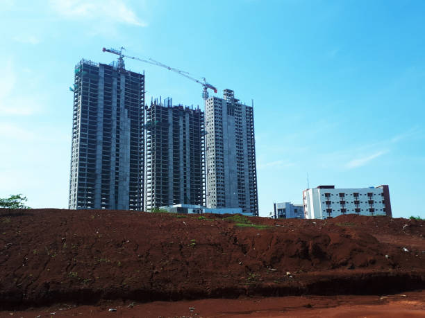 Residential building construction against blue sky in Tangerang Selatan, Indonesia