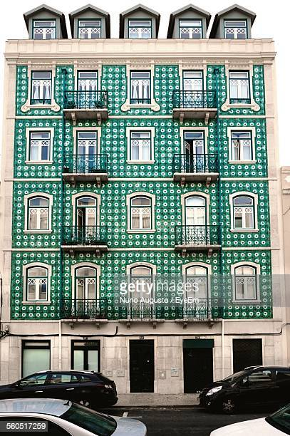 Residential Building Covered With Green Portuguese Tiles