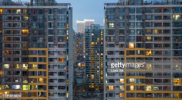 residential building facade - liyao xie stockfoto's en -beelden