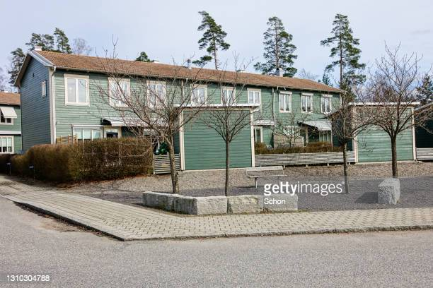 residential building in a swedish city in the spring - vaxjo stock pictures, royalty-free photos & images