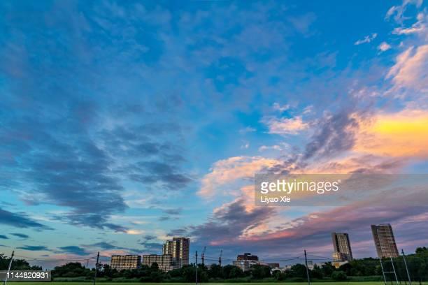 residential building landscape - chiba city fotografías e imágenes de stock