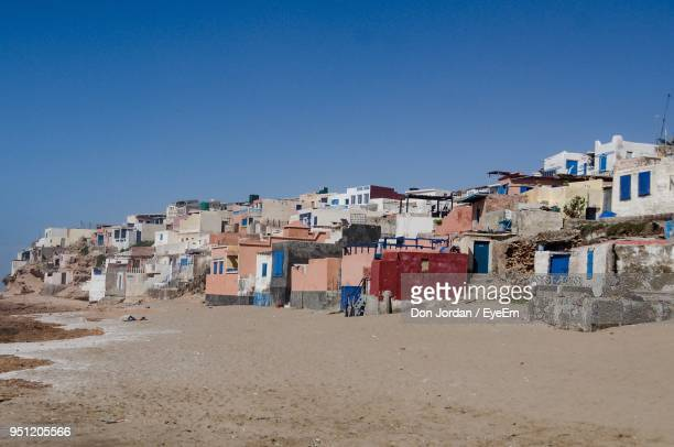 residential buildings against clear blue sky - agadir stock pictures, royalty-free photos & images