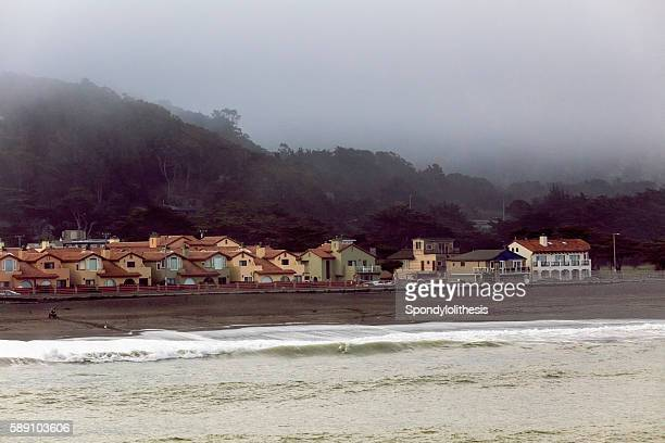 Residential buildings and low fog at Pacifica, California