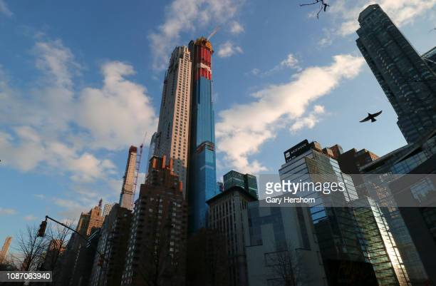 Residential buildings Central Park Tower and 220 Central Park South rise above Columbus Circle on December 26 2018 in New York City