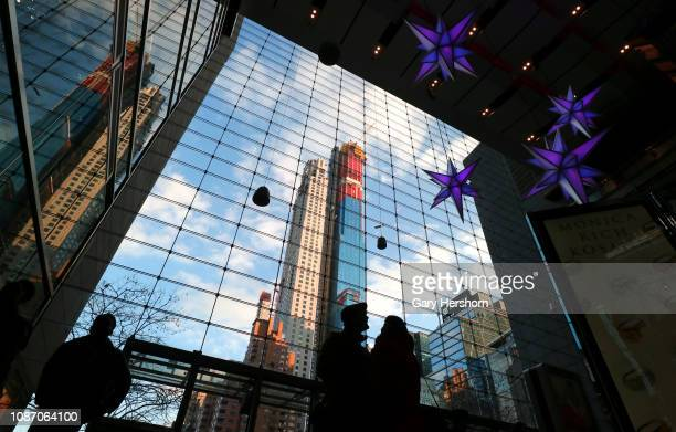 Residential buildings Central Park Tower and 220 Central Park South are seen from the lobby of the Time Warner Center on December 26 2018 in New York...