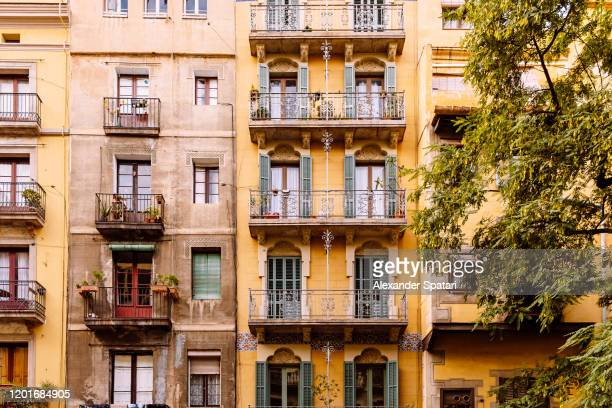 residential buildings facade in barcelona, catalonia, spain - barcelona spain stock pictures, royalty-free photos & images