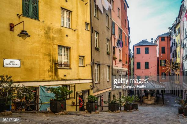 residential buildings in city - genoa stock pictures, royalty-free photos & images