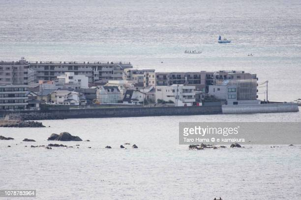 Residential buildings in Isshiki area of Hayama town and Sagami Bay, Northern Pacific Ocean in Kanagawa prefecture in Japan