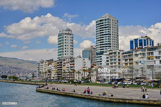 residential buildings, izmir bay - emreturanphoto stock pictures, royalty-free photos & images