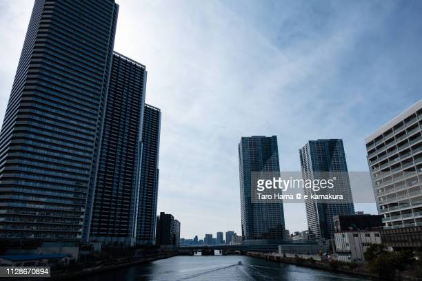 Residential buildings on Harumi Pier and Tsukishima Pier in Chuo Ward of Tokyo in Japan