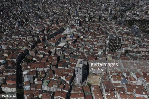 Residential buildings surround a mosque seen from the Saphire Tower in the district of Levent Istanbul Turkey on Friday July 6 2018 Recep Tayyip...