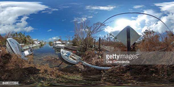 A residential canal is clogged with windblown debris and tossed boats four days after Hurricane Irma slammed into the Florida KeysSeptember 14 2017...