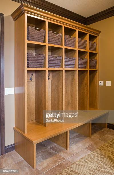 residential cherry mudroom storage cabinet - new cherry stock pictures, royalty-free photos & images