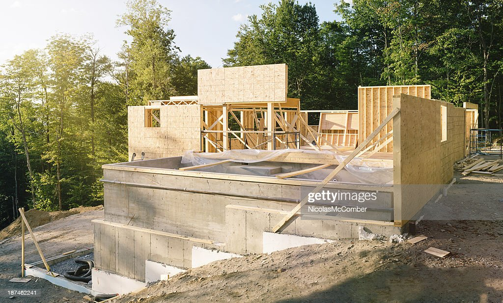 Residential construction site panorama with pool : Stock Photo