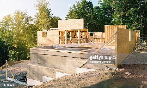 residential construction site panorama with pool - man made structure stock pictures, royalty-free photos & images