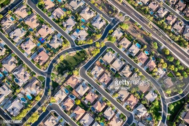 residential development aerial - overhead view stock pictures, royalty-free photos & images