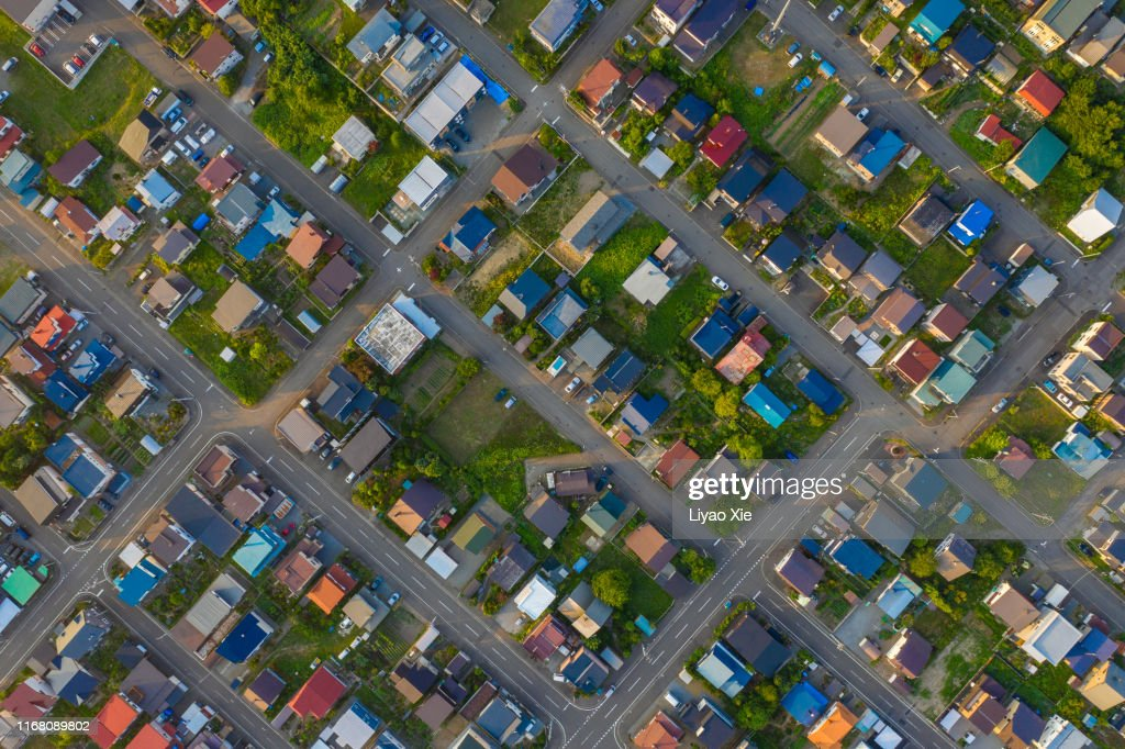 Residential district aerial view : Stock Photo