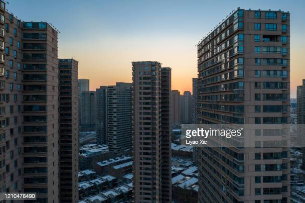 residential district aerial view - liyao xie stock pictures, royalty-free photos & images