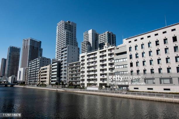 Residential district along Shibaura Canal in Minato Ward of Tokyo in Japan