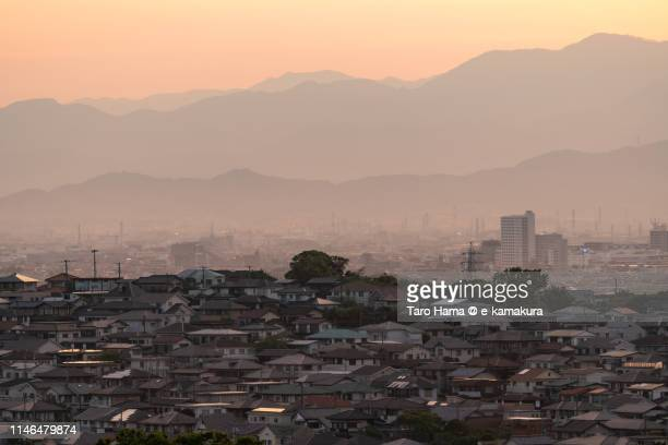 Residential district and mountains in Japan